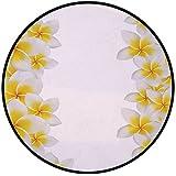 Printing Round Rug,Hawaiian Decorations,Frangipani Blossom Exotic Nature Garden Plumeria Flower Frame Relaxation Mat Non-Slip Soft Entrance Mat Door Floor Rug Area Rug For Chair Living Room,