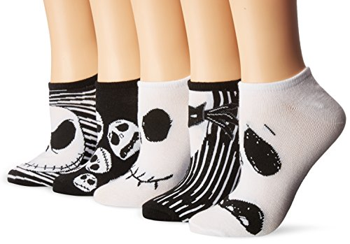 Disney Women's Nightmare Before Christmas 5 Pack No Show Socks, White/Black Assorted, 9-11 Fits Shoe Size 4-10.5