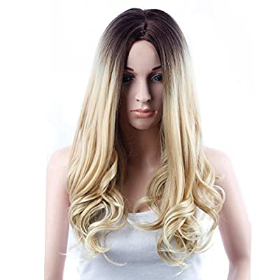 Netgo Ombre Wig Long Wavy Blonde/Brown Ombre Wig Dark Roots Heat Resistant Sythentic Full Wigs for Women