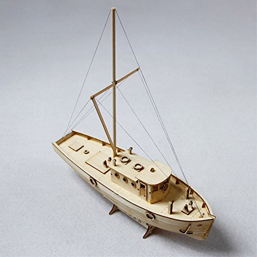 HAPYLY 1/30 Scale DIY Hobby Nakas Wooden Fishing Ship Science Equipmen Assembly Model Boat Kits Sailing Boat Kit Decor Toy Gift