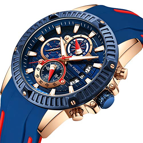 (MINI FOCUS Men's Business Watch, Fashion Watch Chronograph (Blue, Alloy Case), Casual Quartz Wristwatch for Family Gift)