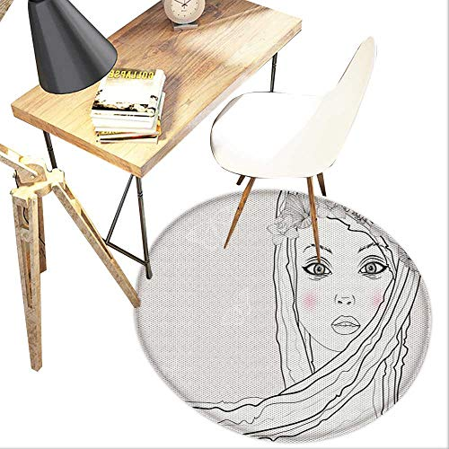 Teen Room Round Area Carpet,Baby Face Young Girl with Floral Wreath on Hair and Butterfly Design Design Print,Living Room Bedroom StudyNon-Slip Round Carpet,4-Feet Diameter,Pearl Black and -