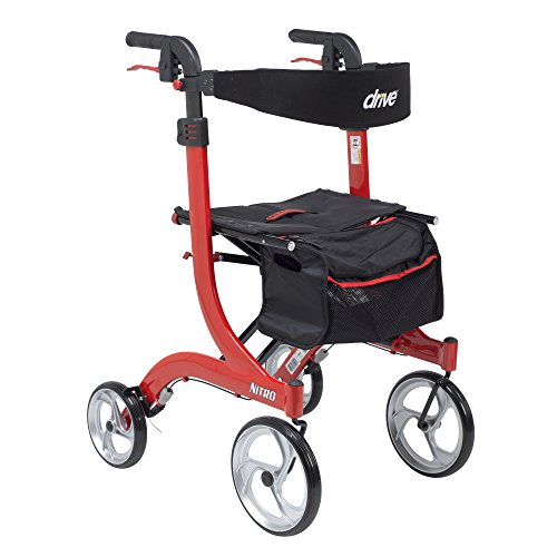 4 Wheel Rolling Walker - Drive Medical RTL10266-T Nitro Euro Style Walker Rollator, Tall, Red