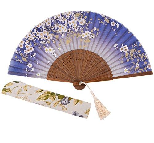 Amajiji Charming Elegant Modern Woman Handmade Bamboo Silk 8.27 (21cm) Folding Pocket Purse Hand Fan (CZT-07)