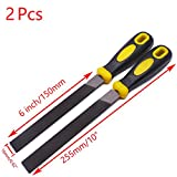 Sydien 2 Pcs 6 inch/150mm Equaling Hand File with Plastic Handle for For Shaping Wood/Metal & Sharpening Tools (Equaling File)