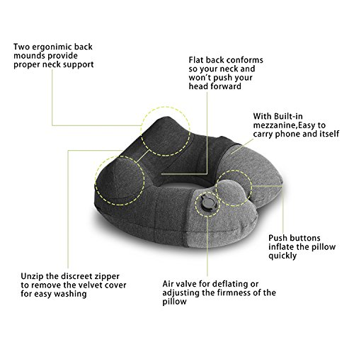 Kmall Inflatable Travel Neck Pillow for Airplane Travel Best Neck Support Sleep Travel Pillow with Super Comfort Pillow Case by Kmall (Image #3)