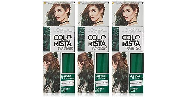 LOreal Paris Colorista Washout tinte semipermanente para el cabello, verde, 80 ml, paquete de 3