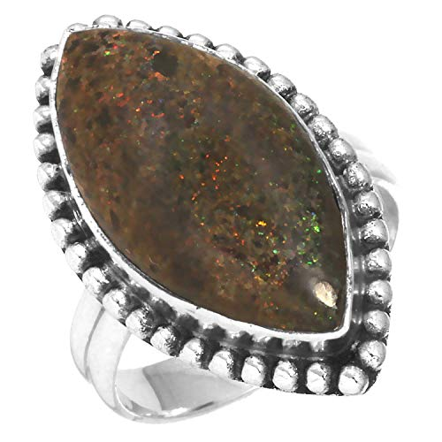 Matrix Opal Ring - Solid 925 Sterling Silver Stylish Jewelry Natural Honduran Black Matrix Opal Gemstone Ring Size 5