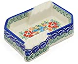 Polish Pottery 5½-inch Ashtray (Red Cornflower And Blue Butterflies Theme) Signature UNIKAT + Certificate of Authenticity