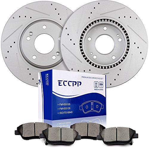 ECCPP Brake Kits, 2pcs Front Discs Brake Rotors and 4pcs Ceramic Disc Brake Pads Set for 2016 Kia Forte Koup 2011 2012 2014 Kia Optima Hyundai Sonata