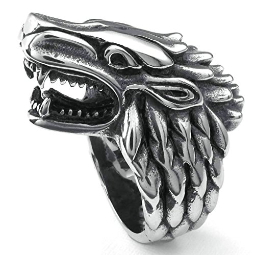 Daesar Stainless Steel Rings Mens Bands Wolf Heard Punk Rings for Men Silver Black Rings - Miami Galleria