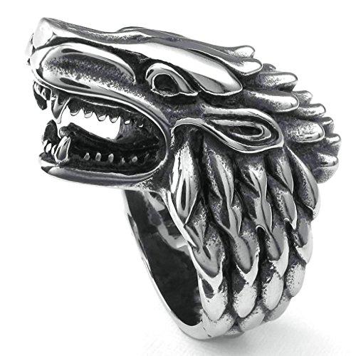 Daesar Stainless Steel Rings Mens Bands Wolf Heard Punk Rings for Men Silver Black Rings - Galleria The In Shops Houston