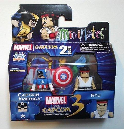Minimates: Marvel vs Capcom 3 Series 3 Captain America vs Ryu Action Figure by Art (Minimates Art Asylum)