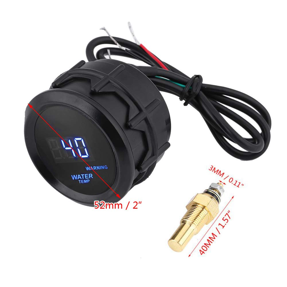 Qiilu Water Temp Gauge Digital Temperature Fahrenheit Gauge Kit 2 Inch 52mm Blue LED with Temp Sensor for Car Automotive