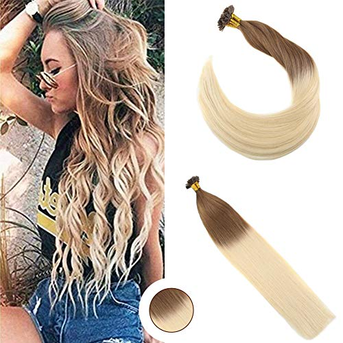 Ugeat 20 inch Keratin Fusion Hair Extensions Tangle Free Pre Bonded Keratin Flat Tip Remy Human Hair Extensions 1g/Strands 50Gram Per Package Color #6 and #613 Bleach Blonde -