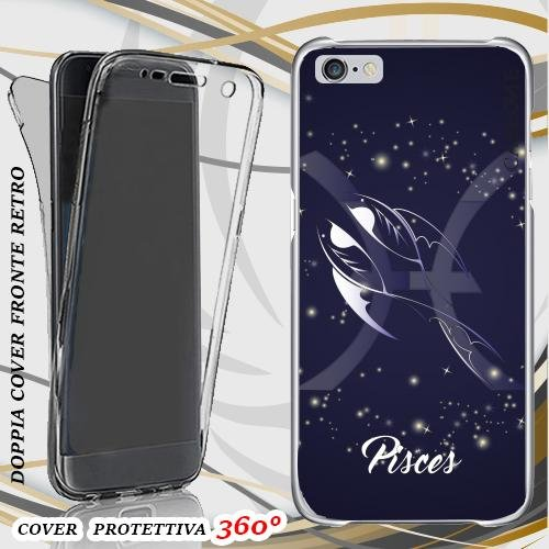 CUSTODIA COVER CASE PESCI ZODIACO PER IPHONE 6 PLUS FRONT BACK