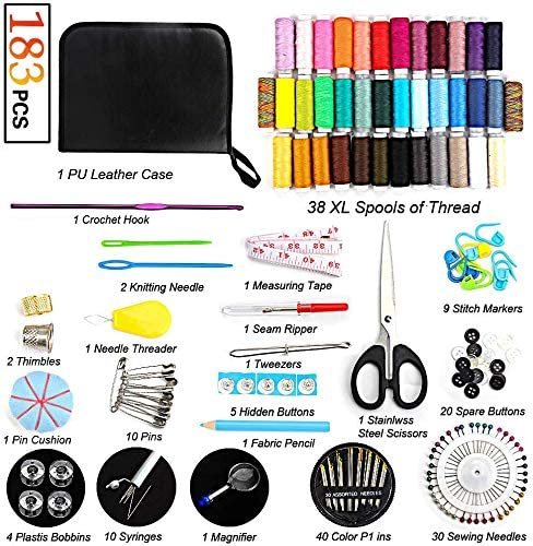 College Students,Traveler,Beginners,Emergency,DIY and Home-Basic /& Professional Sewing Needles and Thread by TBBSC Sewing Kit,183 Premium Sewing Supplies,38 XL Thread Spools,Suitable for Adults Kids
