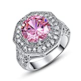 Psiroy 925 Sterling Silver 8mm Pink Topaz Filled Ring Cluster Cocktail Band