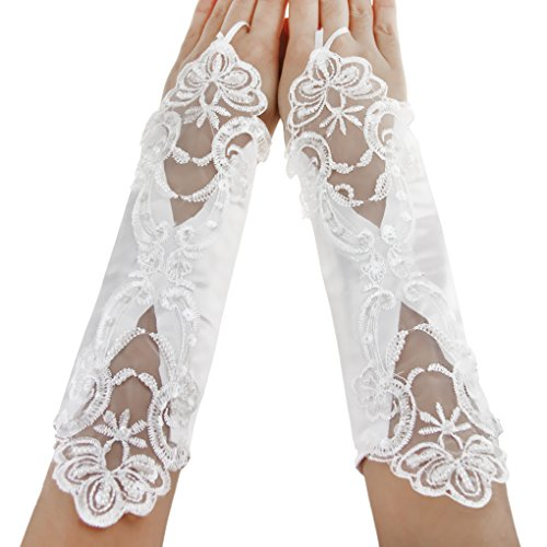 Flower Girls Wedding Gloves Pageant Evening Party Satin Bowknot Lace Fingerless Gloves First Communion Dress Formal Wrist/Long Gloves 5-12Yrs (Fingerless -