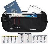 Travelambo Money Belt, RFID Blocking, Travel Wallet, Passort Holder with 12 Bonus RFID Sleeves