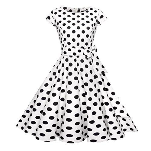 Guesspower Robe Femme Chic de Soire Vintage Cocktail Annes 1950s Style Audrey Hepburn' Classique Mode Cocktail Femmes Ruch V Cou Impression Partie Slim Cocktail Moulante Jupe S-XXL(36-44) Blanc O