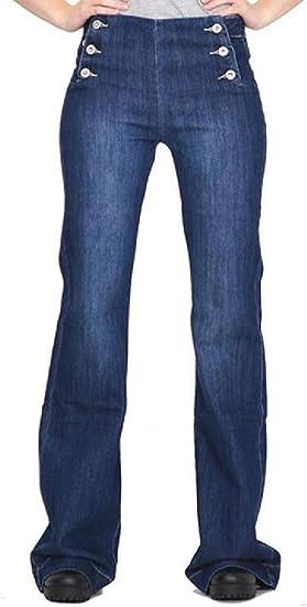 FRPE Women's High Waist Jeans Denim Full-Length Bell Bottom Denim Jeans Pants