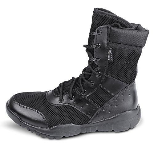 WWOODTOMLINSON Men's LD Lightweight Combat Boots Military Tactical Boots,Black Mesh,11 M US -