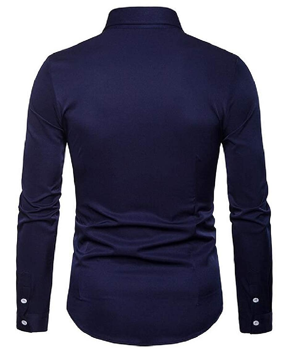 Yayu Mens Embroidery Slim Fit Long Sleeve Button Down Shirts Top