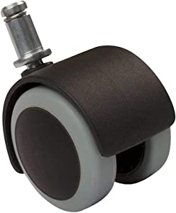Black-Gray 2 Inch Floor Protecting Rubber Office Chair Caster Wheels (Set of 5)