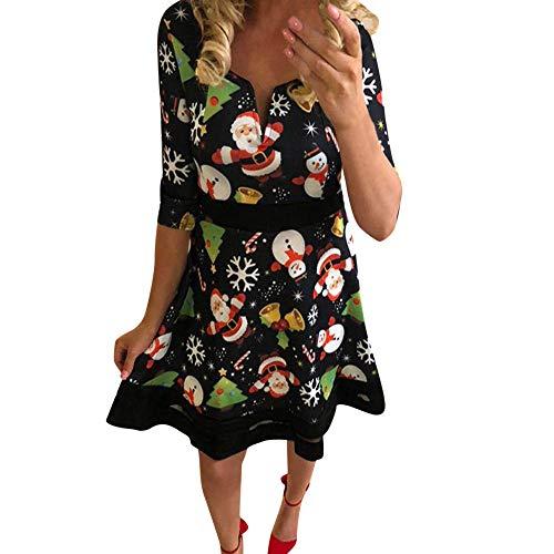 (Landfox Maxi Dress,Christmas Vintage Dress, Women Elegant Long Sleeve Print Dresses - O Neck Xmas Evening Party Swing Dress)