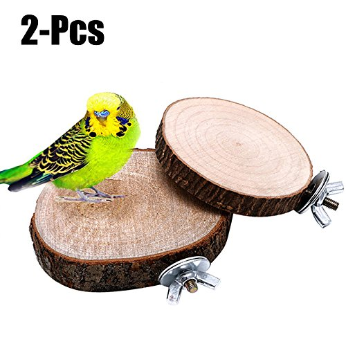 Legendog 2PCS Cage Platforms Bird Wood Stands Round Shaped Parrot Perch Toy Bird Play Toy
