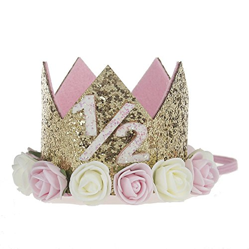 Baby Princess Tiara Crown, Baby Girls/ Kids Half a year old Birthday Hat Sparkle Gold Flower Style with Artificial Rose Flower (1/2st Golden Crown)