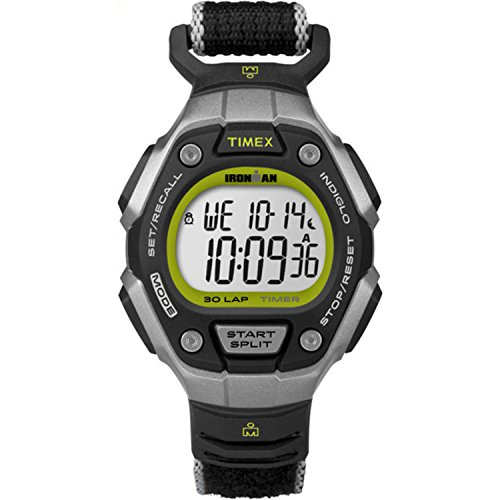 Timex Women's Ironman 30-Lap Digital Quartz Mid-Size Watch, Black/Silver-Tone/Lime - TW5K89800 (Ironman Watch Kids Timex)