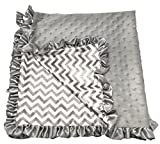 Boy or Girl Unisex Gray Chevron Print Minky Baby Blanket