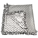 Boy or Girl Unisex Gray Chevron Print Minky Baby Blanket