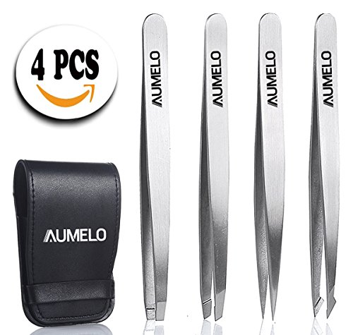 Tweezers Set 4-Piece Professional Stainless Steel Tweezers with Travel Case by Aumelo - Best Precision Eyebrow and Splinter Ingrown Hair Removal Tweezer Tip,No Colored & Chemical Free