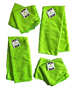 "Set of 6 Microfiber Kitchen Towels (25"" x 15"") and Dishcloths (12"" x 12"") Vibrant Colors 100% Polyester"