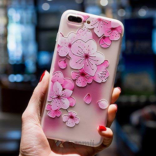Cocomii Cute Armor iPhone 8 Plus/7 Plus Case New [Feels So Good in Hand] Pretty 3D Pattern Relief Silicone Shockproof Bumper [Slim] Full Body Cover for Apple iPhone 8 Plus/7 Plus (C.Cherry Blossom)