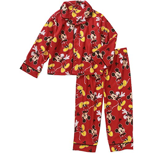 Disney Mickey Mouse 2 Piece Button Down Flannel Pajama Set (2T) ()