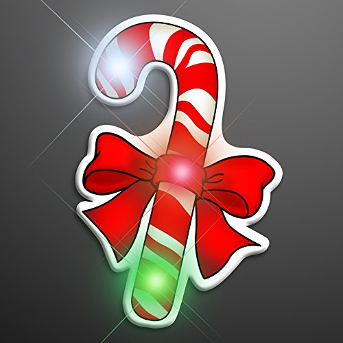 Christmas Candy Cane Light Up Flashing LED Lapel Pins (Set of 5) -