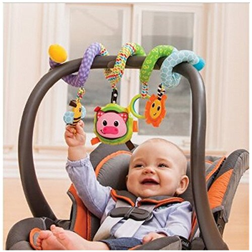 Myhouse Colorful Baby Plush Hanging Toys Baby Spiral Activity Hanging Toys Stroller Toy
