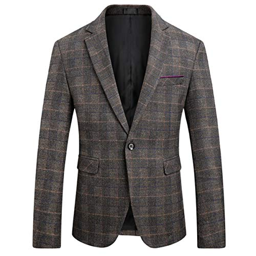 Men's Classic Plaid Sport Coats Casual One Button Single Breasted Notched Lapel Checked Suit Jacket Coffee