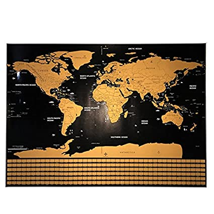 Deluxe Home Travel Scratch Map Personalized World Map Poster