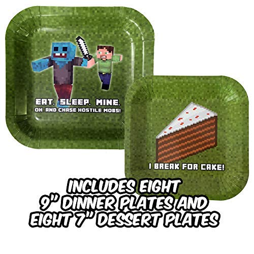 New, Thicker Party Plates in This Miner-Theme Paper Plates Set (Pack of 8) for Pixel Gamer Parties. Birthday Party Supplies That Keep Cake Off The Floor, Unlike with More Flimsy Birthday Plates!