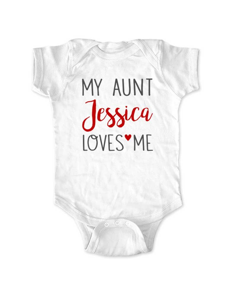 My Aunt Uncle Sister Brother (Custom Name) Loves Me - Personalized Baby Birth Pregnancy (12 Months Bodysuit, White)