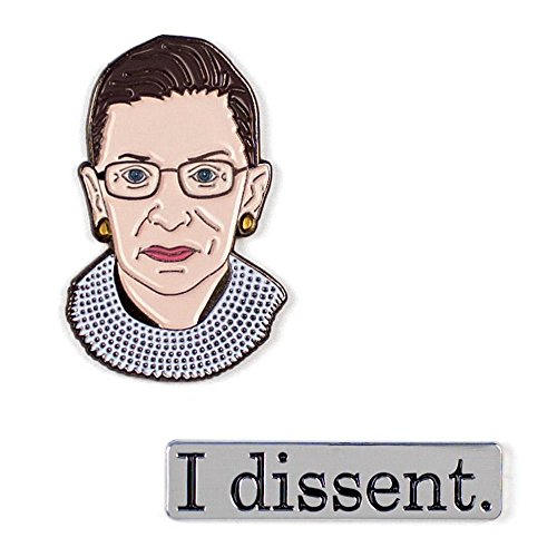 (The Unemployed Philosophers Guild Ruth Bader Ginsburg and I Dissent Enamel Pin Set - 2 Unique Colored Metal Lapel Pins)