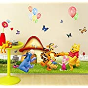 Wall Decal Sticker Winnie the Pooh Piglet Tiger and friends Kids Bedroom Nursery Daycare and Kindergarten Mural Home Decor DIY Self adhesive Removable