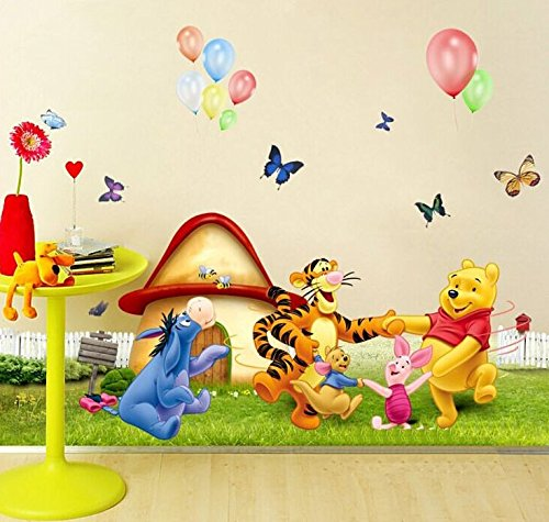 Pooh Mural - Wall Decal Sticker Winnie the Pooh Piglet Tiger and friends Kids Bedroom Nursery Daycare and Kindergarten Mural Home Decor DIY Self adhesive Removable