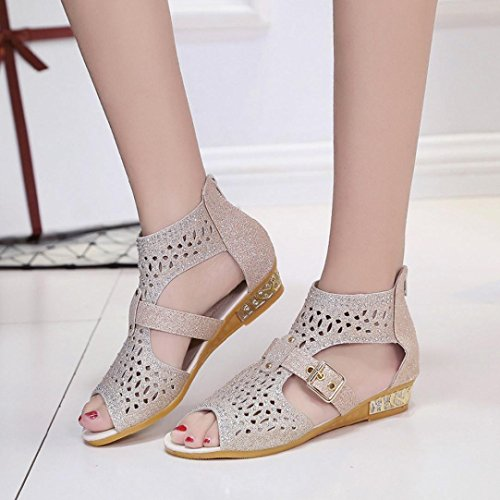 Clode® Ladies Mouth Beige Summer Fish Gilrs Out Sandals Hollow Shoes Womens Sandals Low Beach Heel Sexy Toe Pumps Peep Wedge rrqw1S
