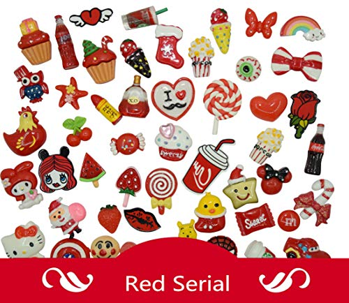 AMOBESTER 50PSC Assorted Decoden Pieces Flatback Resin Cabochons Slime Charm Red Serial